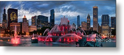 Chicago Blackhawks Skyline Metal Print by Jeff Lewis