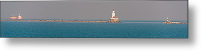 Chicago Breakwater And Lighthouse Metal Print by Cliff C Morris Jr