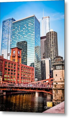 Chicago Downtown At Lasalle Street Bridge Metal Print by Paul Velgos