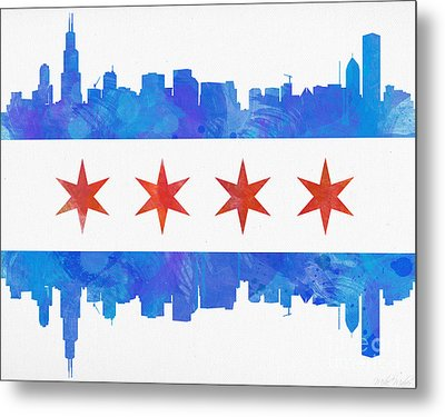 Chicago Flag Watercolor Metal Print by Mike Maher