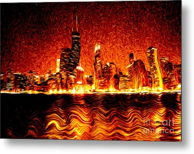 Chicago Hell Digital Painting Metal Print by Paul Velgos