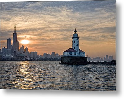Chicago Lighthouse And Skyline Metal Print by John Hansen