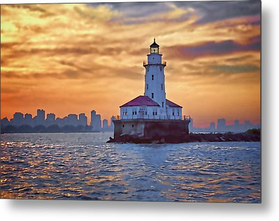 Chicago Lighthouse Impression Metal Print by John Hansen