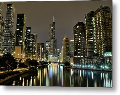 Chicago Night River View Metal Print by Frozen in Time Fine Art Photography