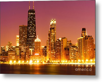 Chicago Night Skyline With John Hancock Building Metal Print by Paul Velgos