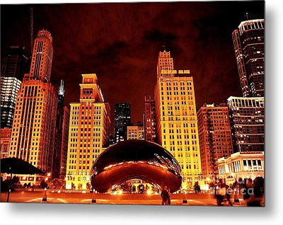 Chicago Photography - The Bean At Night Metal Print by Gene Mark