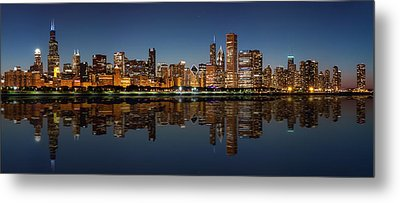 Chicago Reflected Metal Print by Semmick Photo