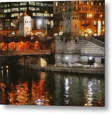 Chicago River At Michigan Avenue Metal Print by Jeff Kolker