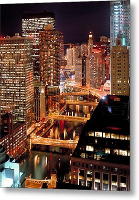Chicago River At Night Metal Print by Thomas Firak
