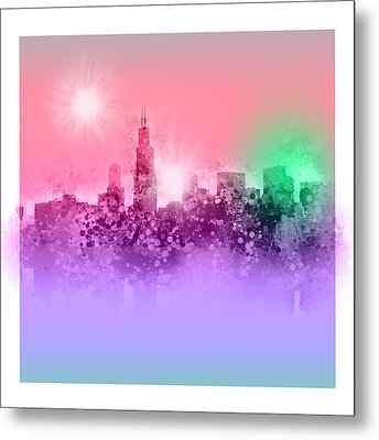 Chicago Skyline Abstract 3 Metal Print by Bekim Art