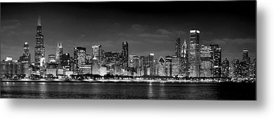 Chicago Skyline At Night Black And White Metal Print by Jon Holiday