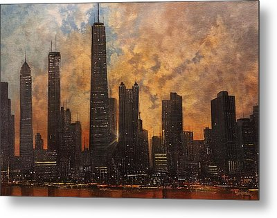 Chicago Skyline Silhouette Metal Print by Tom Shropshire