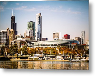 Chicago Skyline With Soldier Field Metal Print by Paul Velgos