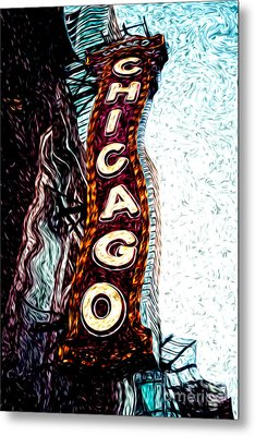 Chicago Theatre Sign Digital Art Metal Print by Paul Velgos