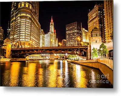 Chicago Wabash Avenue Bridge At Night Picture Metal Print by Paul Velgos