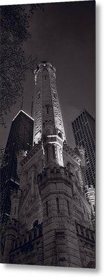 Chicago Water Tower Panorama B W Metal Print by Steve Gadomski