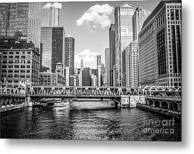 Chicago Wells Street Bridge Black And White Picture Metal Print by Paul Velgos