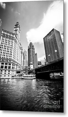 Chicago Wrigley Tribune Equitable Buildings Black And White Phot Metal Print by Paul Velgos