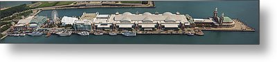 Chicago's Navy Pier Aerial Panoramic Metal Print by Adam Romanowicz