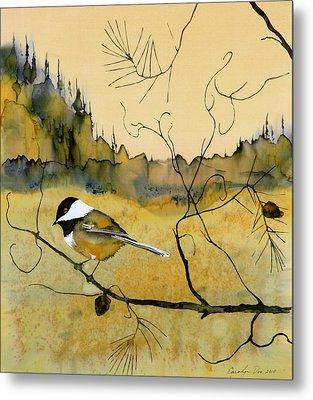 Chickadee In Dancing Pine Metal Print by Carolyn Doe