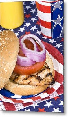 Chicken Burger On Fourth Of July Metal Print by Joe Belanger