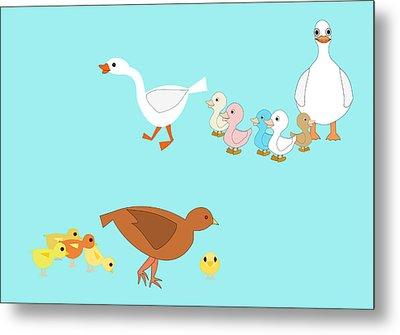 Chicks And Ducks Metal Print by John Orsbun