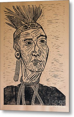Chieftain - Block Print Metal Print by Christiane Schulze Art And Photography