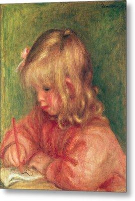 Child Drawing Metal Print by Pierre Auguste Renoir