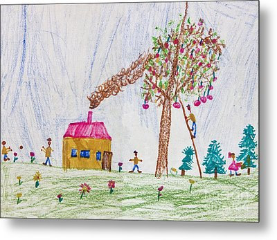 Child Drawing Of A Happy Family Metal Print by Kiril Stanchev