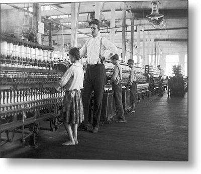 Child Spinner At Yarn Mills Metal Print by Lewis Hine