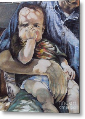 Child Under A Shade Of An Olive Tree Metal Print by Alessandra Andrisani