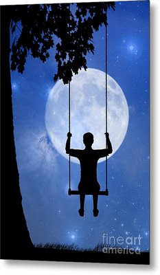 Childhood Dreams 2 The Swing Metal Print by John Edwards