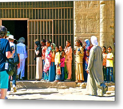 Children And Tourists At Entry To Temple Of Hathor In Dendera-egypt Copy Metal Print by Ruth Hager