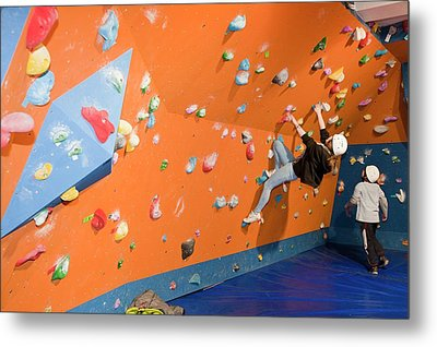 Children On A Climbing Wall Metal Print by Ashley Cooper