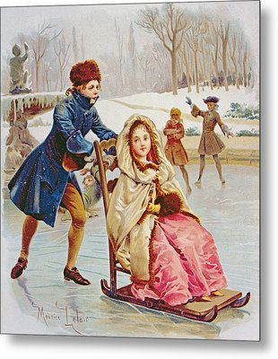 Children Skating Metal Print by Maurice Leloir