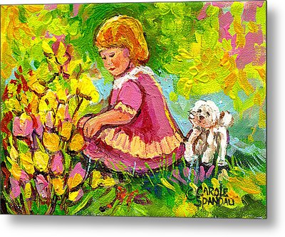 Children's Art - Little Girl With Puppy - Paintings For Children Metal Print by Carole Spandau