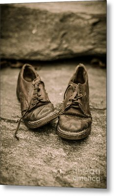 Child's Old Leather Shoes Metal Print by Edward Fielding
