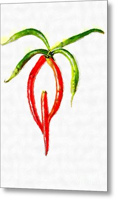 Chilli Palm Painting Metal Print by Magomed Magomedagaev