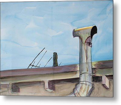 Chimney Pipe And Berkeley Sky Metal Print by Asha Carolyn Young