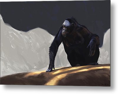 Chimp Contemplation Metal Print by Aaron Blaise