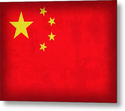 China Flag Vintage Distressed Finish Metal Print by Design Turnpike
