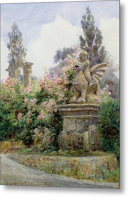 China Roses Villa Imperiali Genoa Metal Print by George Samuel Elgood
