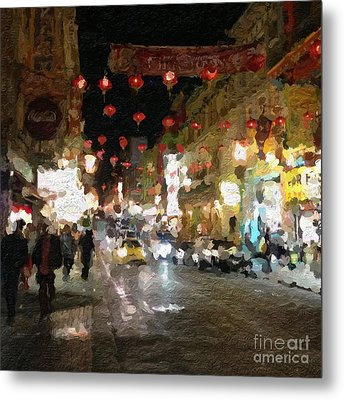 China Town At Night Metal Print by Linda Woods