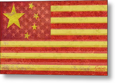 Chinese American Flag Blend Metal Print by Tony Rubino