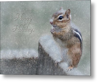 Chippy Christmas Card Metal Print by Lori Deiter