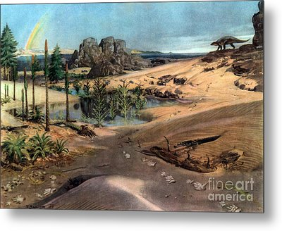 Chirotherium In Lower Triassic Landscape Metal Print by Science Source