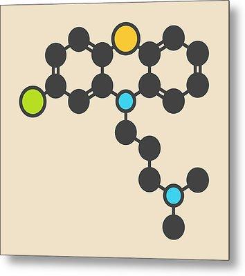 Chlorpromazine Antipsychotic Molecule Metal Print by Molekuul