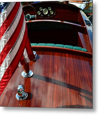 Chris Craft With Flag And Steering Wheel Metal Print by Michelle Calkins