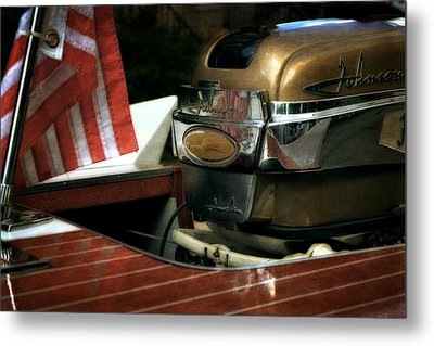 Chris Craft With Johnson Motor Metal Print by Michelle Calkins