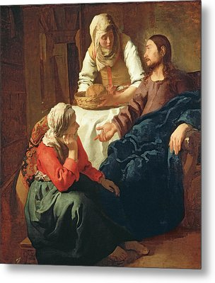 Christ In The House Of Martha And Mary Metal Print by Jan Vermeer